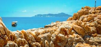 Paradise of rocks on the beach. In van phong bay, vietnam Stock Photo