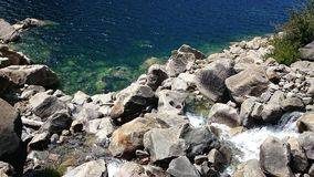 Paradise rocks. Blue green clear water showing rocks at the bottom of a waterfall in the Hetch Hetchy reservoir royalty free stock photography
