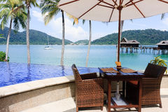 Paradise's Restaurant waiting for tourists. Restaurant of the Pankor Island Resort, Malaysia royalty free stock images