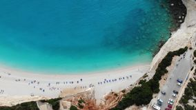 Paradise sand beach by the roads. Paradise sand beach blue sea. Aerial shot stock video