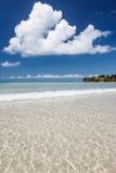 Paradise sand beach on sunny day Stock Photo