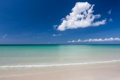 Paradise sand beach on sunny day Royalty Free Stock Images