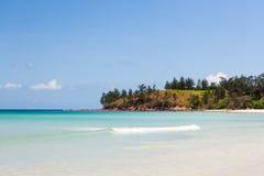 Paradise sand beach on sunny day Royalty Free Stock Photos