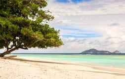 Paradise sandy beach on Silhouette Island, Seychelles Royalty Free Stock Photography