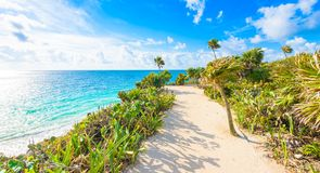 Paradise Scenery of Tulum at tropical coast and beach. Mayan ruins of Tulum, Quintana Roo, Mexico stock photo