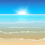 01 paradise Sea. The illustration of beautiful sea background. Vector image Royalty Free Stock Photos