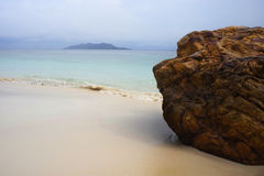 Paradise sea landscape with white sand and emerald ocean shore in Rawa Island Malaysia Stock Photography