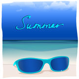 01 paradise Sea sunglasses. The illustration of  beautiful glasses on the seashore. Vector image Royalty Free Stock Images
