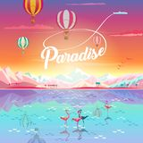 Paradise Sea beach flamingo Mountain Palm Sunset Landscape Vector Illustration