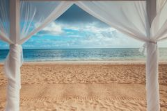 Paradise seascape. Tropical beach view on the Caribbean sea and. Dominican Republic Stock Photo