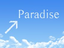 Paradise sign on Cloud shaped Stock Photos