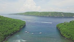 Paradise Snorkeling Bay Nusa Penida Aerial 4k. Aerial footage of a beautiful snorkeling bay with shallow water in Nusa Penida, Indonesia stock video