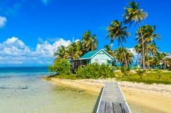 Paradise-Strand auf Insel caye Carrie Bow Cay Field Station, karibisches Meer, Belize Tropische Zieleinheit lizenzfreies stockfoto