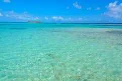 Paradise-Strand auf Insel caye Carrie Bow Cay Field Station, karibisches Meer, Belize Tropische Zieleinheit lizenzfreies stockbild