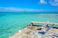 Paradise-Strand auf Insel caye Carrie Bow Cay Field Station, karibisches Meer, Belize Tropische Zieleinheit stockbilder