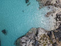 Paradise of the sub, beach with promontory overlooking the sea. Zambrone, Calabria, Italy. Aerial view. Paradise of the sub, beach with promontory overlooking royalty free stock photos