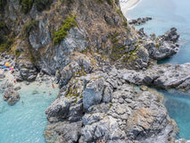 Paradise of the sub, beach with promontory overlooking the sea. Zambrone, Calabria, Italy. Aerial view. Paradise of the sub, beach with promontory overlooking royalty free stock photography
