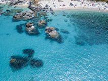 Paradise of the sub, beach with promontory overlooking the sea. Zambrone, Calabria, Italy. Aerial view. Paradise of the sub, beach with promontory overlooking royalty free stock photo