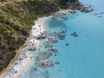 Paradise of the sub, beach with promontory overlooking the sea. Zambrone, Calabria, Italy. Aerial view. Paradise of the sub, beach with promontory overlooking stock images