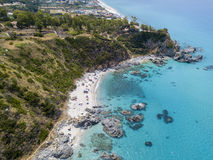Paradise of the sub, beach with promontory overlooking the sea. Zambrone, Calabria, Italy. Aerial view. Paradise of the sub, beach with promontory overlooking stock photo
