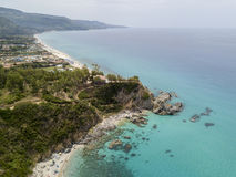 Paradise of the sub, beach with promontory overlooking the sea. Zambrone, Calabria, Italy. Aerial view. Paradise of the sub, beach with promontory overlooking stock image