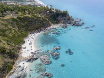 Paradise of the sub, beach with promontory overlooking the sea. Zambrone, Calabria, Italy. Aerial view. Paradise of the sub, beach with promontory overlooking stock photography