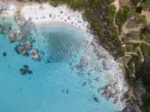 Paradise of the sub, beach with promontory overlooking the sea. Zambrone, Calabria, Italy. Aerial view Stock Photography