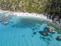 Paradise of the sub, beach with promontory overlooking the sea. Zambrone, Calabria, Italy. Aerial view Royalty Free Stock Photos