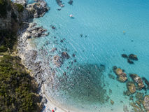 Paradise of the sub, beach with promontory overlooking the sea. Zambrone, Calabria, Italy. Aerial view Stock Photo