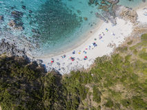 Paradise of the sub, beach with promontory overlooking the sea. Zambrone, Calabria, Italy. Aerial view Stock Images