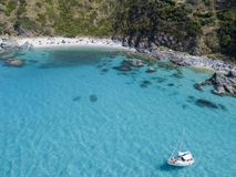 Paradise of the sub, beach with promontory overlooking the sea. Zambrone, Calabria, Italy. Aerial view Stock Image