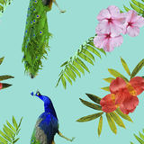 Paradise summer pattern with tropical decoration Royalty Free Stock Photos