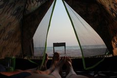 Paradise in a tent on the beach, romance Stock Photo