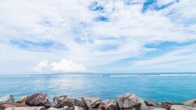 Paradise time lapse 4K. A view of the ocean and the horizon. Amazing blue sky and ocean, Tropical Bali island, Indonesia stock footage