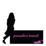 Paradise travel with girl and boat vector Royalty Free Stock Photos