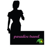 Paradise travel with girl vector Stock Photography