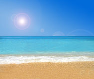 Paradise tropical beach. Under strong summer sun Royalty Free Stock Photo