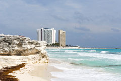 Paradise tropical beach in Cancun, Mexico. Royalty Free Stock Photos