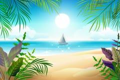 Paradise tropical beach landscape. Coastline, palm leaves, blue sea and sky. Vector cartoon illustration royalty free illustration