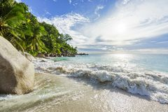 Paradise tropical beach with rocks,palm trees and turquoise wate. Amazing beautiful paradise tropical beach with granite rocks,palm trees and turquoise water in Royalty Free Stock Photos