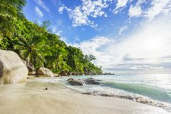 Paradise tropical beach with rocks,palm trees and turquoise wate. Amazing beautiful paradise tropical beach with granite rocks,palm trees and turquoise water in Royalty Free Stock Photography