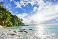 Paradise tropical beach with rocks,palm trees and turquoise wate. Amazing beautiful paradise tropical beach with granite rocks,palm trees and turquoise water in Royalty Free Stock Images