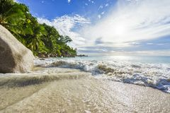 Paradise tropical beach with rocks,palm trees and turquoise wate. Amazing beautiful paradise tropical beach with granite rocks,palm trees and turquoise water in Stock Images