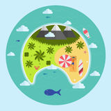 Paradise Tropical Island Aerial View vector illustration