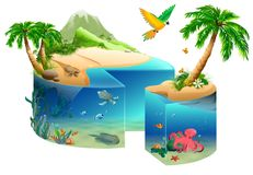 Paradise tropical island cake shape isolated on white. Vector cartoon illustration Stock Photos