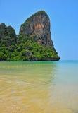 Paradise tropical sand sea beach with rock Royalty Free Stock Photos