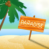 Paradise Vacation Shows Time Off And Beaches. Paradise Vacation Indicating Time Off And Idyllic vector illustration