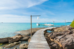 Paradise. Vacations And Tourism Concept. Tropical Resort. Jetty royalty free stock photo