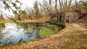 Paradise Valley Stone Spring House - Eagle, WI. The Paradise Valley Stone Spring House at Paradise Springs in Eagle, Wisconsin, part of the State Park system Stock Photo