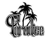 paradise Vector l'iscrizione scritta a mano con l'illustrazione disegnata a mano delle palme royalty illustrazione gratis
